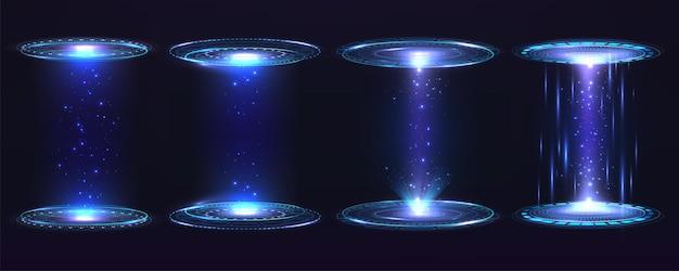 未来のポータルサークル、ホログラム。青い光線の光とデジタル要素の仮想インターフェイスハグギグラフィックモーションのセット。
