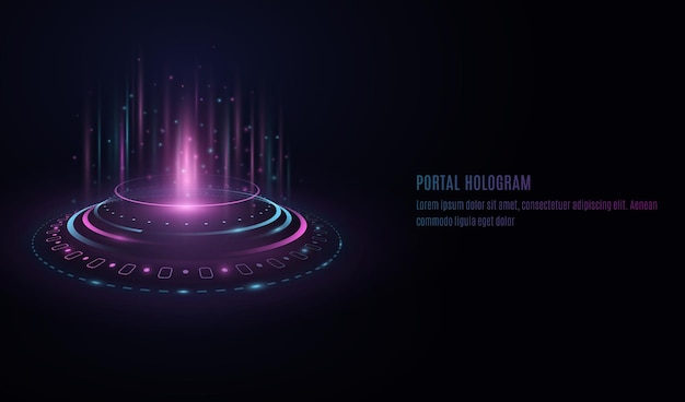 Futuristic portal hologram with hud interface elements on transparent background.