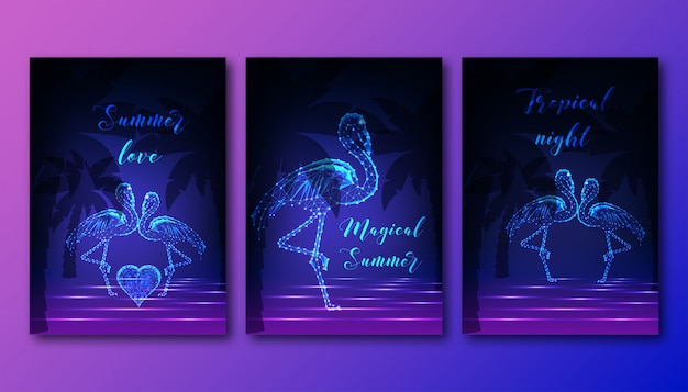 Futuristic posters set with couple of dancing flamingos