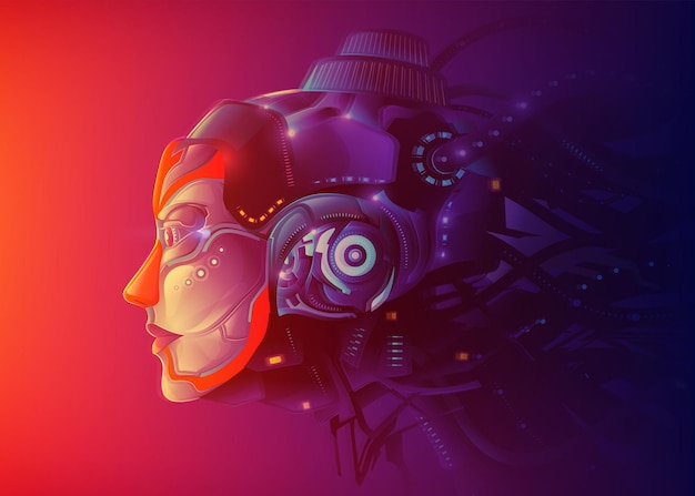 A futuristic powerful female artificial intelligence technology