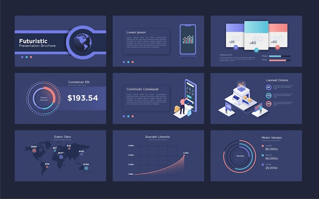 Futuristic presentation template for digital marketing with isometric element