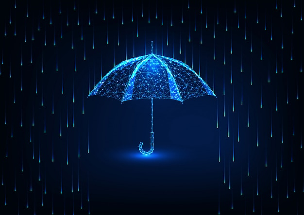Futuristic protection  with glow low poly umbrella and rain shower on dark blue .