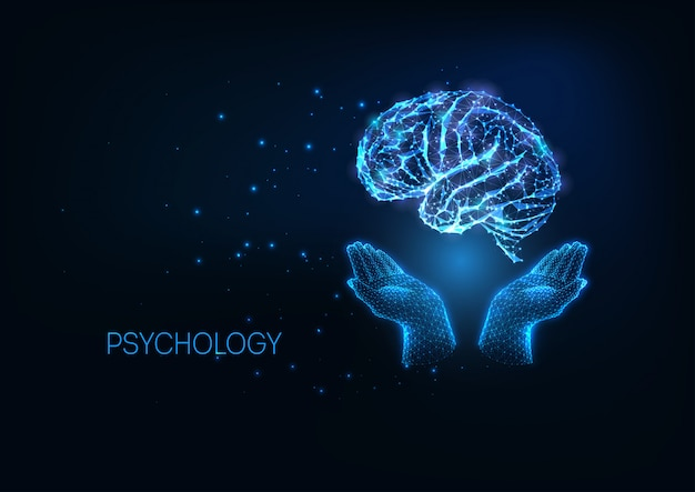 Futuristic psychology illustratation with glowing polygonal hands holding brain