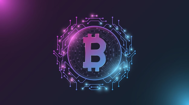 Футуристический фиолетовый и синий светящийся биткойн цифровая валюта. Premium векторы