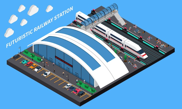 Futuristic railway station isometric composition