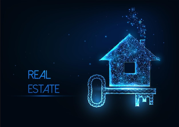 Futuristic real estate agency concept with glowing low polygonal residential house and door key