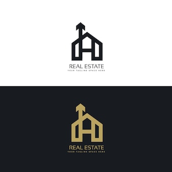 Marchio della casa concetto di design pulito con il simbolo della freccia