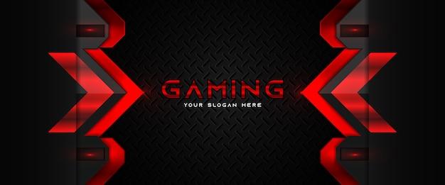 Футуристический красно-черный игровой заголовок шаблон баннера в социальных сетях