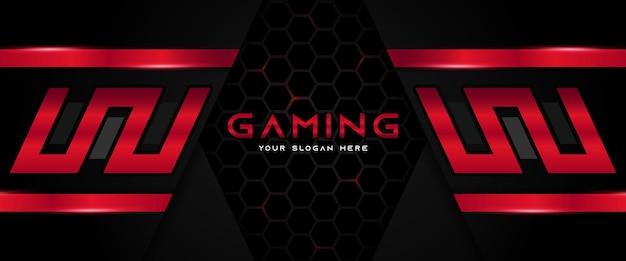 미래의 빨간색과 검은 색 게임 헤더 소셜 미디어 배너 템플릿