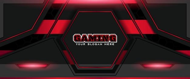 未来的な赤と黒のゲームヘッダーソーシャルメディアバナーテンプレート
