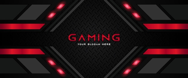Futuristic red and black gaming header social media banner template