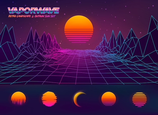 Futuristic retro landscape illustration and outrun sun set