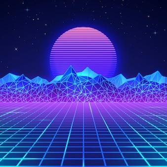ネオンカラーの80年代の未来的なレトロな風景。レトロなスタイルの山と太陽。デジタルレトロサイバー表面。