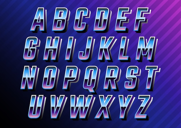 Futuristic retro technology alphabets set