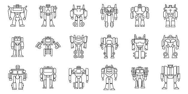 Futuristic robot-transformer icons set