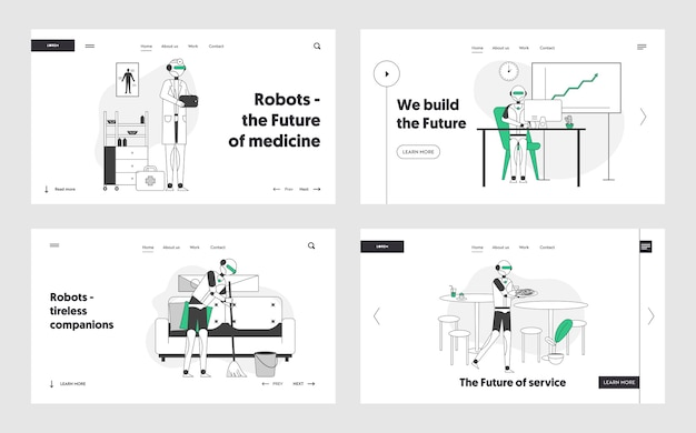 Futuristic roboticstechnologiesのwebサイトのランディングページセット