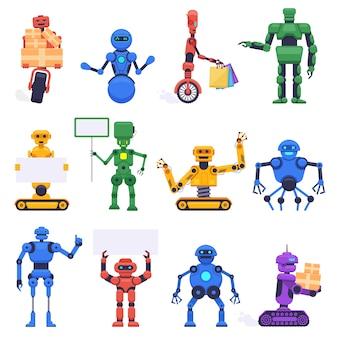 未来的なロボット。ロボットアンドロイドボット、機械ヒューマノイドロボットキャラクター、ロボットマスコットアシスタント、イラストアイコンセット。ロボットヒューマノイド、未来型マシンサイボーグ