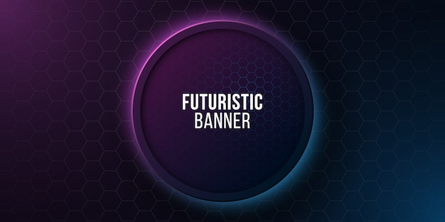 Футуристический круглый баннер с сотовым рисунком. высокотехнологичный дизайн. синие и фиолетовые светящиеся неоновые соты.
