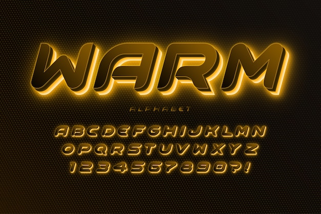 未来的なサイファイのアルファベット、余分に輝く、創造的な文字セット。