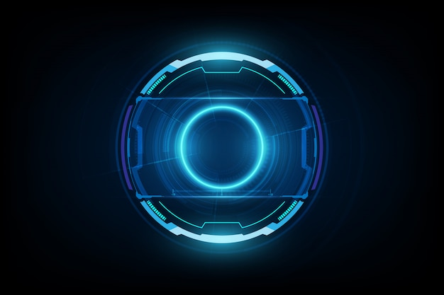 Futuristic sci-fi hud circle element. abstract hologram background. virtual reality.