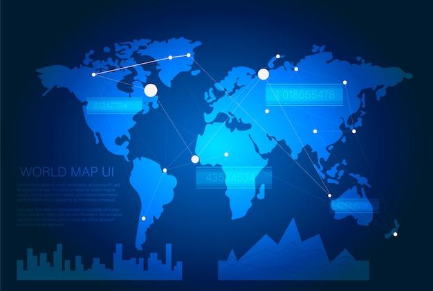 未来的なsci fiユーザーインターフェイス。世界地図と青いhudインターフェイス要素。