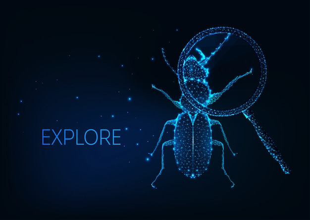未来科学プロジェクトの調査、虫眼鏡の下で虫のバグと好奇心の概念