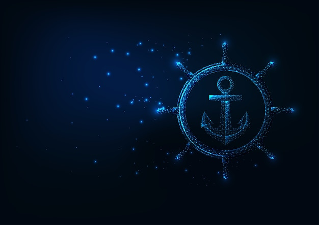 Futuristic sea adventure concept with glowing low polygonal ship wheel and anchor isolated on dark blue background. modern wire frame mesh  .