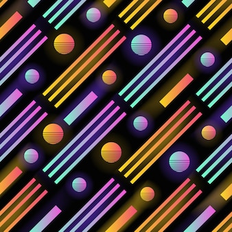 Futuristic seamless pattern with glowing gradient colored circles, stripes and diagonal parallel lines