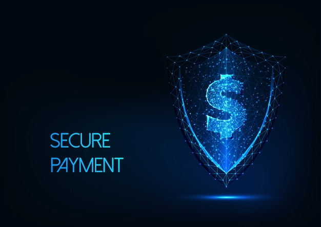 Futuristic secure payment background with glowing low polygonal dollar sign and protection shield
