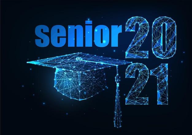 Futuristic senior class of 2021 graduation concept with glowing low polygonal graduate cap on dark blue