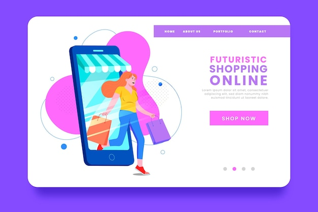 Futuristic shopping on mobile phone landing page
