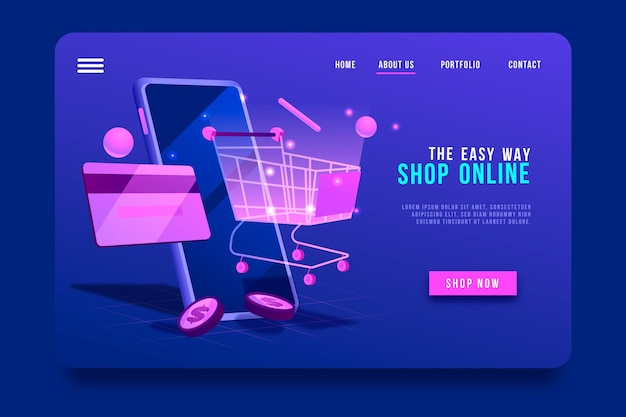 Futuristic shopping online landing page and cart
