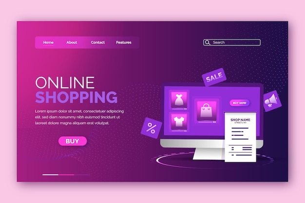 Futuristic shopping online landing page design