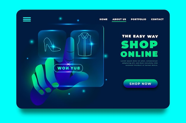 Futuristic shopping online landing page and hand