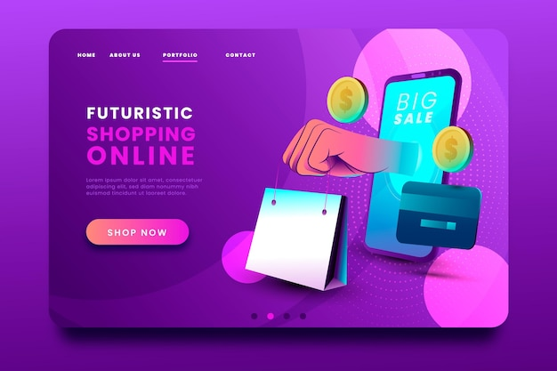 Futuristic shopping online landing page and shopping bag
