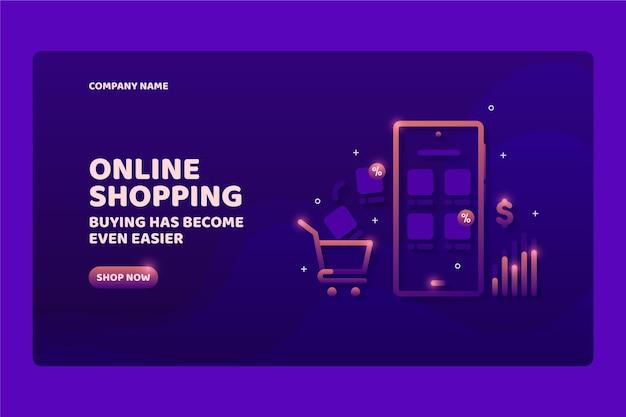 Modello di landing page online shopping futuristico