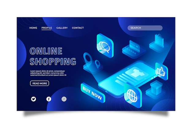 Futuristic shopping online landing page template