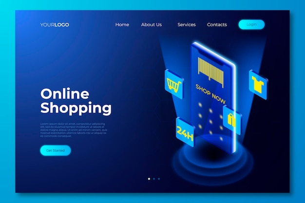 Futuristic shopping online landing page theme