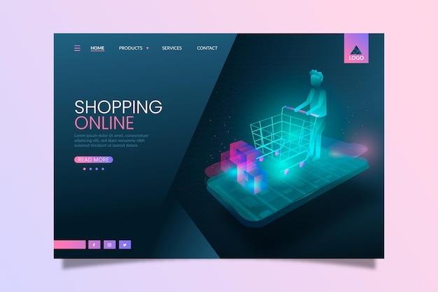 Futuristic shopping online landing page