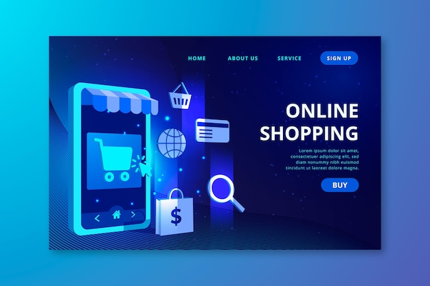 Futuristic shopping online landing page