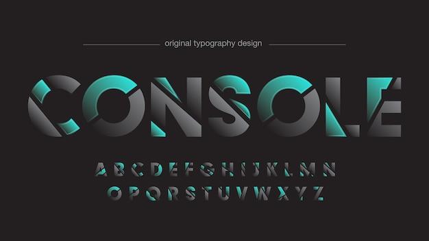 Futuristic sliced sports neon green typography