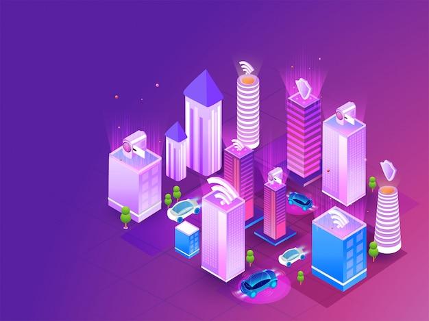 Futuristic smart city concept.