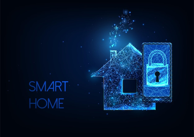 Futuristic smart home concept with glowing low polygonal smartphone, lock and residential house.