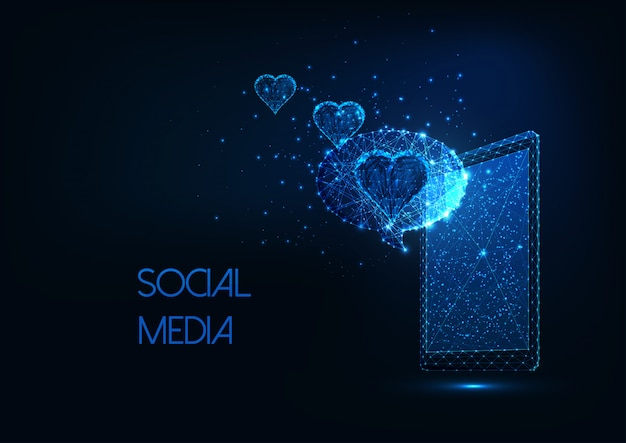 Futuristic social media concept with glowing low polygonal smartphone, message and hearts.