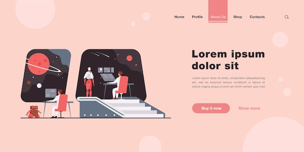 Futuristic space station interior with human and robotic crew landing page in flat style