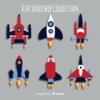 Futuristic spaceship collection with flat design