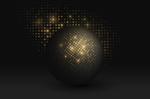 Futuristic sphere with glitter golden halftone effect on dark