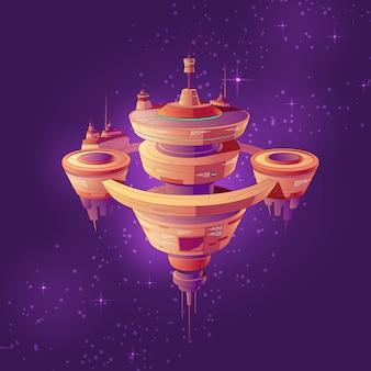 Futuristic starship, intergalactic space station or future orbital city among stars cartoon