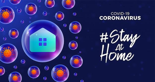 未来のコロナウイルスの発生の概念の間に家にいます。ウイルス細胞、青の背景に光沢のある現実的なボールと概念予防covid-19疾患