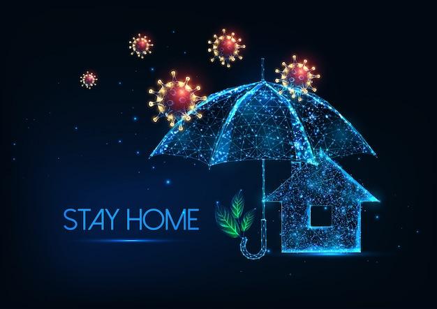 코로나 바이러스 발생 개념 동안 집에서 미래 숙박